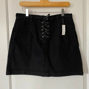 Topshop Lace-up Moto Denim Skirt Black - 10